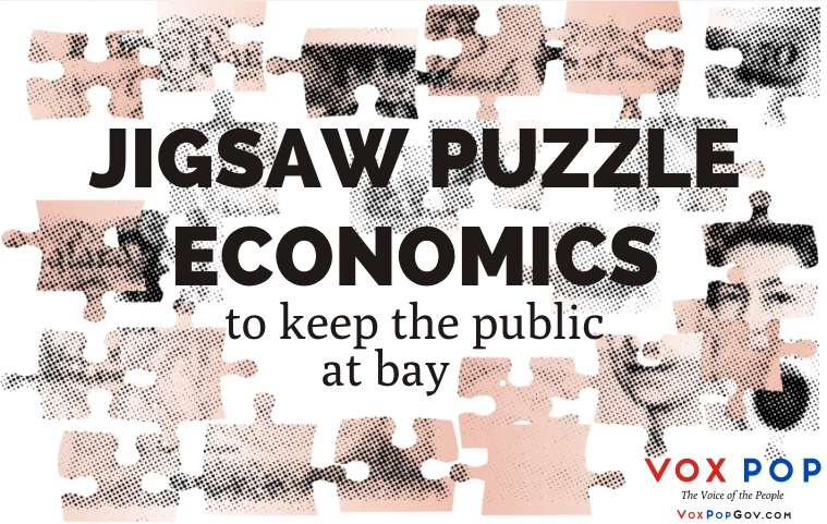 Jigsaw-puzzle economics to keep the public at bay